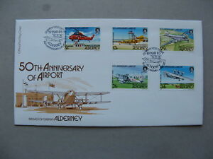 UK ALDERNEY, cover FDC 1985, 50th ann. Airport, helicopter aeroplane aviation