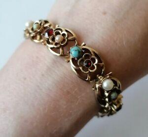 Signed Vintage Designer Jewelcraft Turquoise Garnet Crystal Pearl Link BRACELET
