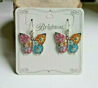Brighton Enchanted Garden Butterfly French Wire  Earrings TAGS & POUCH