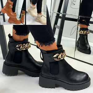 New Womens Chunky Chain Ankle Boots Casual Ladies Shoes Sizes 3-8
