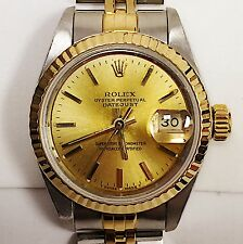 LADIES ROLEX 18 KARAT YELLOW GOLD  OYSTER PERPETUAL DATEJUST WATCH W/ PAPERS