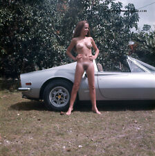 1973 Bunny Yeager Photograph Vintage Pin Up Model Kiki Kaiser Nude With Ferrari