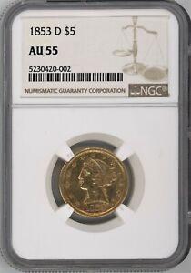 """1853-D LARGE D NGC AU-55 DAHLONEGA $5 GOLD LIBERTY~VERY RARE """"D"""" GOLD ~ 1c START"""