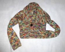 Free People Ladies Multi-Color Wool Blend Chunky Knit Crop Sweater Cardigan Sz S
