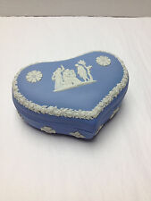 Vintage Wedgwood England Blue Jasperware Heart Shaped Trinket Jewelry Box Case