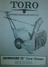 "TORO SNOWHOUND Snow Thrower 20"" Parts Manual Walk Behind Model 31300-700001-"