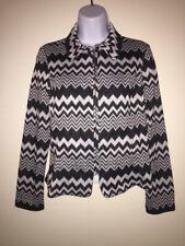 Women's Soho Brand Zip Up Blazer Size Petite Small Black And Grey Zig Zag Print