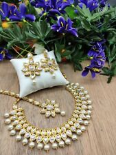 Indian Fashion Bridal Kundan and Pearl Jewelry Necklace Set with Earrings