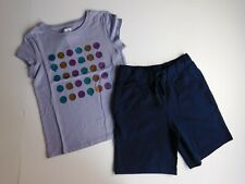 NWT Gap/The Place Girl's 2 Pc Outfit Graphic Emoji T-Shirt/Terry Shorts Small