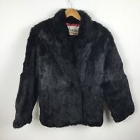 Vintage Mademoiselle Genuine Black Rabbit Fur Coat Size M Womens Lined