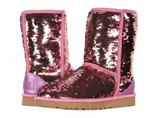 UGG AUSTRALIA SPARKLES BOOTS WOMENS CLASSIC SHORT SEQUIN PINK SIZE 9 NEW