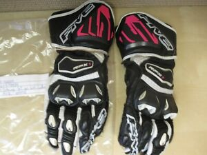 FIVE BRAND MOTORCYCLE STREET GLOVES - WOMENS LARGE - RFX1 ROSE LEATHER RACE