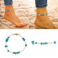 Boho Natural Stone Beads Anklet Bracelet Chain Barefoot Sandal Beach Jewelry
