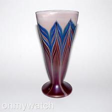 ZELLIQUE Studio Vase JOSEPH MOREL Pulled Feather IRiDESCENT SiGNED U.S Art Glass