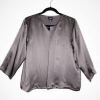 Eileen Fisher Women's Gray Silk 3/4 Sleeve Cardigan Blouse Top Size Medium