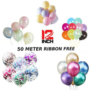 10-100 PEARL Latex CHROME,Metallic,CONFETTI CLEAR ,PASTEL,CLEAR FOAM  BALONS 12""