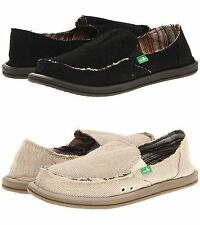 Sanuk Donna Hemp Women Shoes Slip-on Flat Sidewalk Surfer Black Natural  Olive 308cfa455
