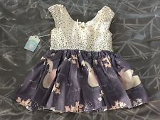 NWT Lemon Drop Handmade Girls Dress Sleeveless Beige & Gray W/ Swans 6