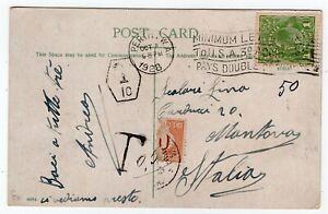 Australia 1928 Perth WA - George V Head Issue - Postcard to Italy - Postage Due