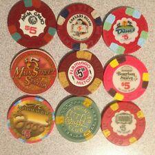 9 different $5 Las Vegas Casino chips some mint