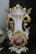 A german Marked Floral decor Cornet porcelain Vase