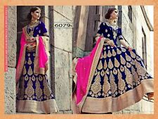 Indian Pakistani Bollywood Designer Bridal Bleu Marine & Rose Lengha, Chanya Choli.