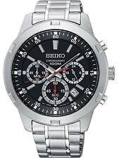 Seiko Men's Black Dial Chronograph Stainless Steel Quartz Watch SKS605P1