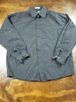 Men's Eighty Eight Size L Large Black White Striped Shirt 100% Cotton Casual L/S