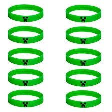 **Set of 10** Minecraft Green Creeper Bracelets Great Birthday Kids Party Favors
