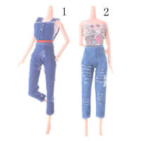 Handmade For  Doll Clothing Fashion Hole Jeans Denim Overalls Street MD