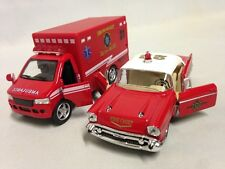 "2 Pcs Car 1957 Chevy Bel Air Fire Dep, Rescue Team Ambulance 5"" DieCast PullBack"
