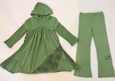 HTF NAARTJIE GIRLS SIZE 5 STARS & STRIPES HOODED DRESS BELL PANTS JASPER GREEN