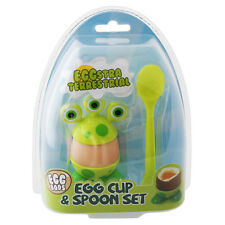 Egg Cup Set Kids Eggstra Terrestrial Green Alien Novelty Breakfast with Spoon