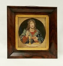 Early Antique Jesus Last Supper Needlepoint Embroidery in Early Rosewood Frame