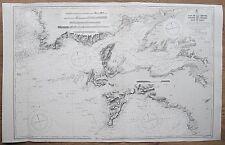 1921 FRANCE CAP DE LA CHEVRE TO POINTE DE CORSEN VINTAGE ADMIRALTY CHART MAP