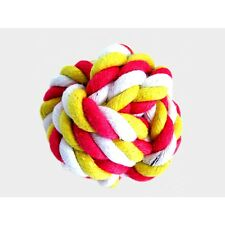 PET TOYS Dog Rope Ball Chew Play Toy Heavy Duty Braided Knot Pink Multi S/M