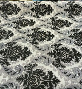 Grenada Damask Charcoal Silver Upholstery Fabric By The Yard
