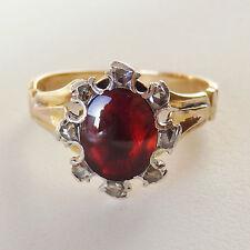 Antique Victorian 18ct Gold Cabochon Garnet & Diamond Ring c1890; UK Size 'Q'