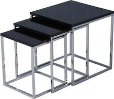 Charisma Nest of Tables in Black Gloss/chrome 24hr Delivery