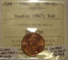 Elizabeth II 1967 Doubled Date; CANADA & Wing Small Cent - ICCS MS-65 (XKD-730)