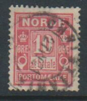 Norway - 1889, 10 ore Rosine Postage Due stamp - Used - SG D92