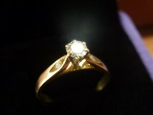 18k 18ct Solid Gold VVS Diamond Solitaire Ring. 0.26ct Size L 2.4g