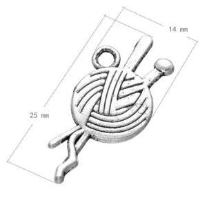 25pcs Tibetan Silver KNITTING Charm Pendant Bead Jewellery Making 25*11mm
