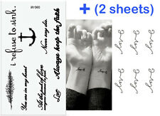 2 x Sheets Fashion Love Words Temporary Tattoo Cover Scars Gift Women Girls Boys