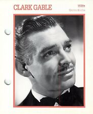 Clark Gable 1930's Actor Movie Star Card Photo Front Biography on Back 6 x 7""