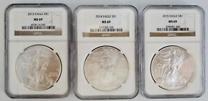 3) United States American Silver Eagles $1 Coin Lot 2013, 2014, & 2015 NGC MS69