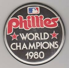 "Vintage Philadelphia Phillies 1980 World Champions Baseball Pin Button 3 1/4"""
