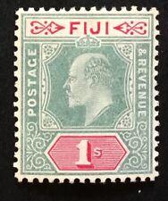 More details for fiji edward vii 1909 1/- green & carmine m/m sg 117 (cat £30)