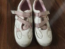 girls STRIDE RITE SNEAKERS shoes NO TIE pink white PLAY WEAR RUNS NARROW size 13