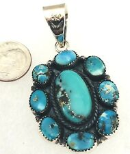 Natural Persian Turquoise Sterling Pendant Oval 2.25in